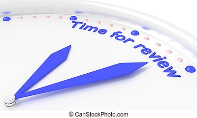 Time for review clock reminder closeup with 2 blue hands