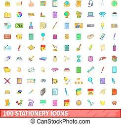 100 stationery icons set, cartoon style