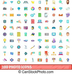 100 photo icons set, cartoon style - 100 photo icons set in...