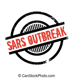 Sars Outbreak rubber stamp. Grunge design with dust...