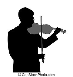 Male violinist isolated on white background. EPS file...