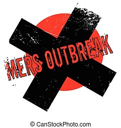 Mers Outbreak rubber stamp. Grunge design with dust...