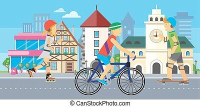 Children Going in for Sport Urban City Landscape