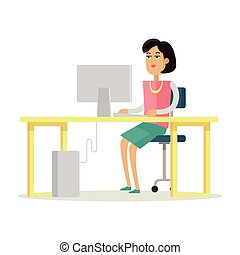 Business Woman Works on His Desktop - Young business woman...