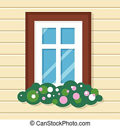 Window with Flowers in House. Street View on Wall.