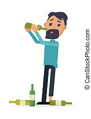 Man with Bottle of Wine Isolated on White. Vector - Man with...