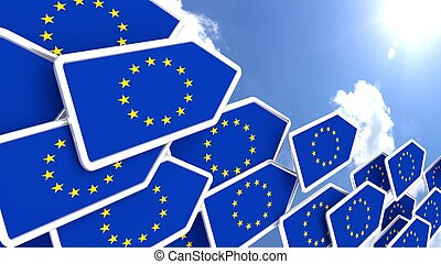 Europe first concept flying flag arrows towards the sun -...