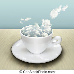 The Cup With Clouds - Surrealist image representing a cup...