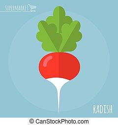 Radish vector icon - Radish. Long shadow flat design vector...