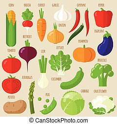 Flat design vector vegetables icons - Flat design vector...