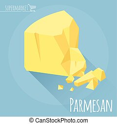 Flat design Parmesan cheese vector icon on light blue...