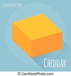 Flat design Cheddar cheese vector icon