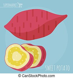 Sweet potato vector icon - Flat design sweet potato vector...