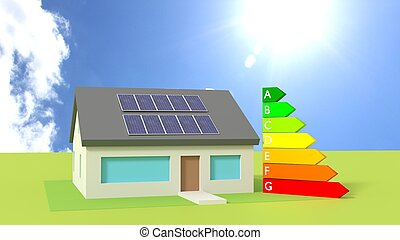 House with solar panels on the roof sunny day
