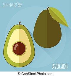 Avocado vector icon. - Avocado. Long shadow flat design...