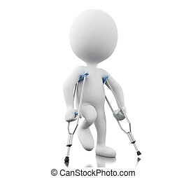3d White people with crutches. - 3d renderer image. White...