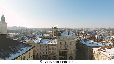 Winter Magic City at sunset - Aerial Old Winter City Lviv,...