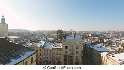 Winter Magic City at sunset - Aerial Old Winter City Lviv,...