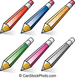 vector set of stylized pencils
