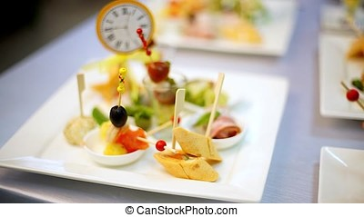 Canape on the glass plate