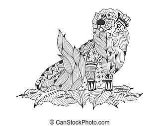 Labrador Retriever in the leaves coloring book for adults vector