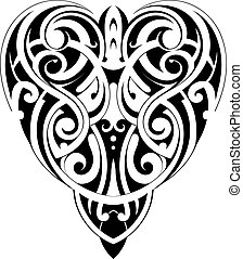 Maori style heart shape - Tribal tattoo heart shape in Maori...