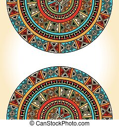 Ethnic traditional colorful bright half round pattern on...