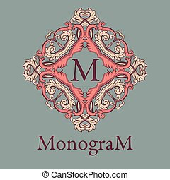 Vintage graceful monogram design template.