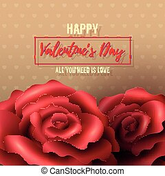 Valentines Day Background with red roses, frame and polka...
