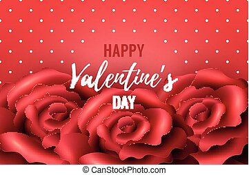 Valentines Day Background with red roses and polka dots....