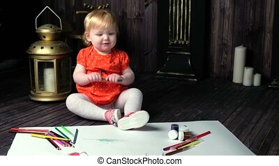 Girl with blue eyes watercolor painting - Cute beautiful...