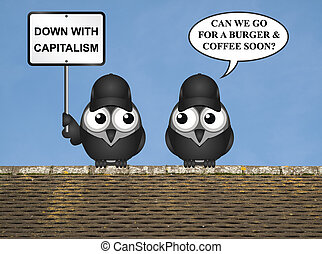 Anti capitalism protest - Comical contradictory anti...