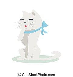 Cute Cartoon Cat with Blue Ribbon