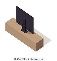 Isometric Wide Screen TV on Stand - Isometric wide screen TV...