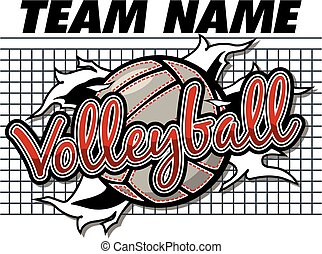 volleyball team design with ball ripping through the...