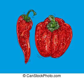peperone e peperoncino piccante disegno a colori con fondo...