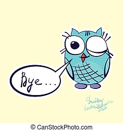 Cute and cartoon owls with various emotions