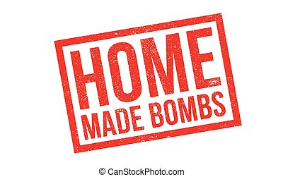 Home Made Bombs rubber stamp. Grunge design with dust...