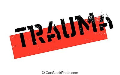 Trauma rubber stamp. Grunge design with dust scratches....