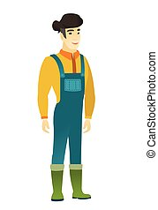 Young asian happy farmer in coveralls. Full length of...