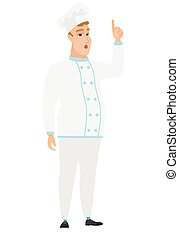 Chef cook with open mouth pointing finger up. - Caucasian...