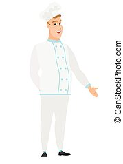 Caucasian chef cook with hand in his pocket. - Smiling...