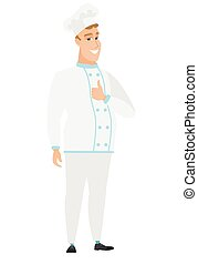 Chef cook giving thumb up vector illustration.