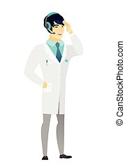 Asian doctor in headset with microphone.