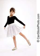 Dancing little girl - portrait of dancing little girl on...