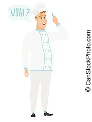 Chef cook with question what in speech bubble.