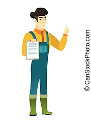 Farmer with clipboard giving thumb up. - Asian farmer in...