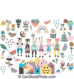Set of cute scandinavian style elements and animals. Hand...