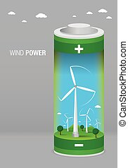 Landscape with wind farm inside a battery on gray background...