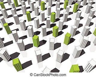 3d illustration of green and white buildings - green...